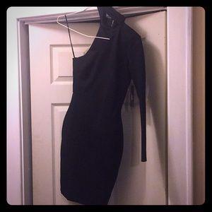 Lulu's All I Half Black One Shoulder Dress